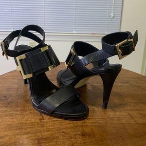 Calvin Klein black heels, gold hardware, size 6